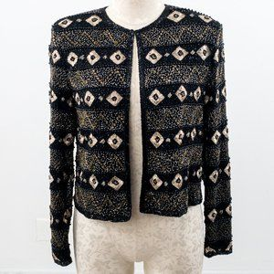 Vintage 70s S Silk Beaded Geometric Blazer Black